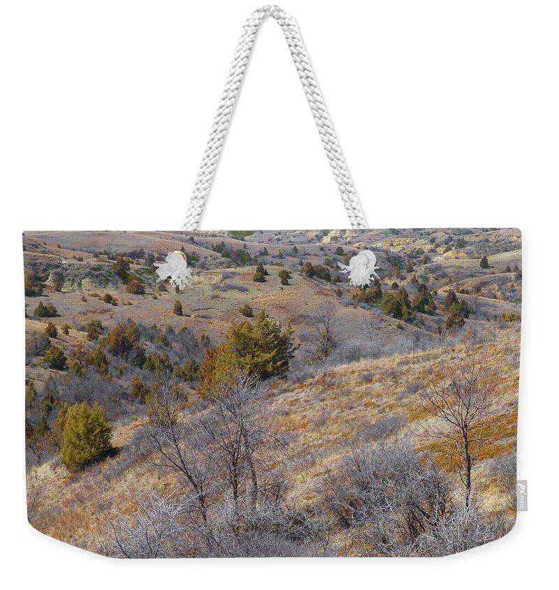 North Dakota Weekender Tote Bag featuring the photograph April Prairie Reverie by Cris Fulton
