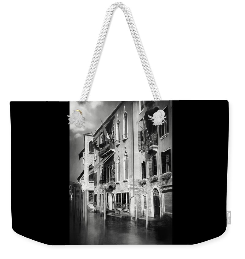 Venice Weekender Tote Bag featuring the photograph Architecture Of The Grand Canal Venice Italy Black And White by Carol Japp