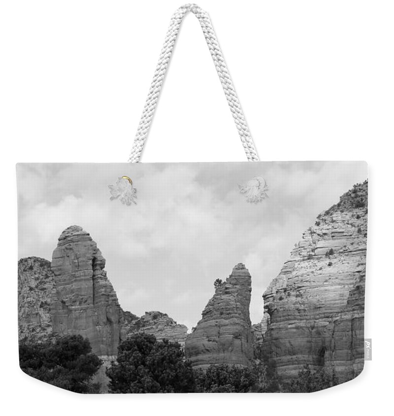 Scenics Weekender Tote Bag featuring the photograph Arizona Mountain Red Rock Monochrome by Sassy1902