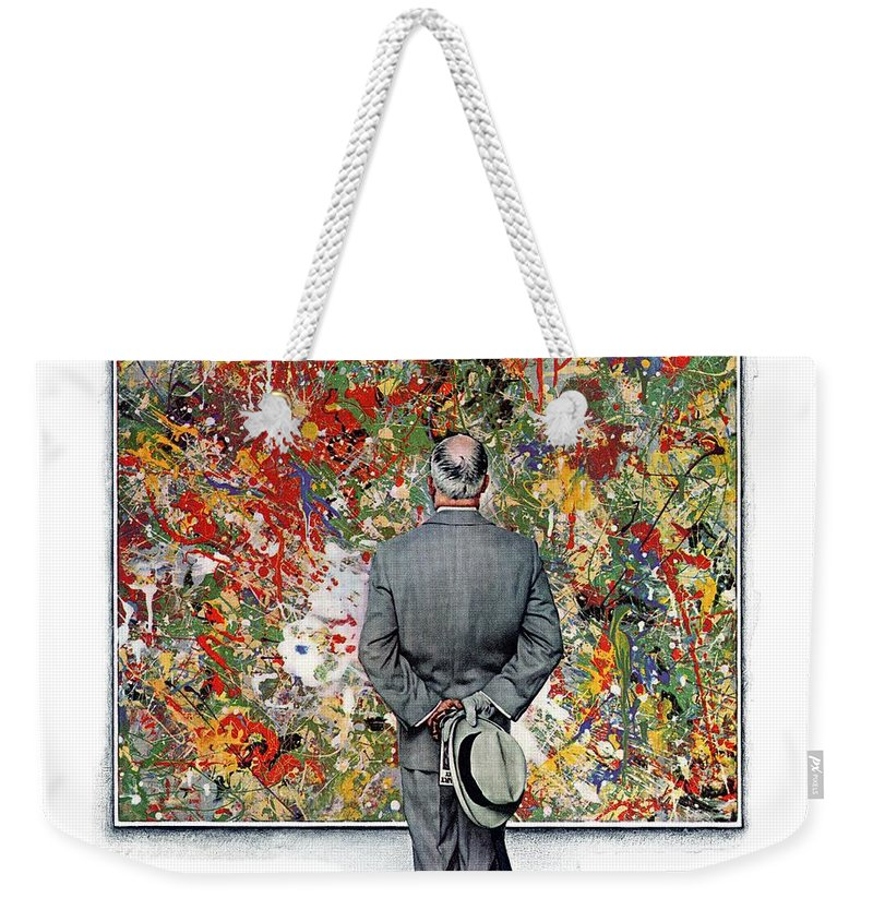 Art Weekender Tote Bag featuring the drawing Art Connoisseur by Norman Rockwell