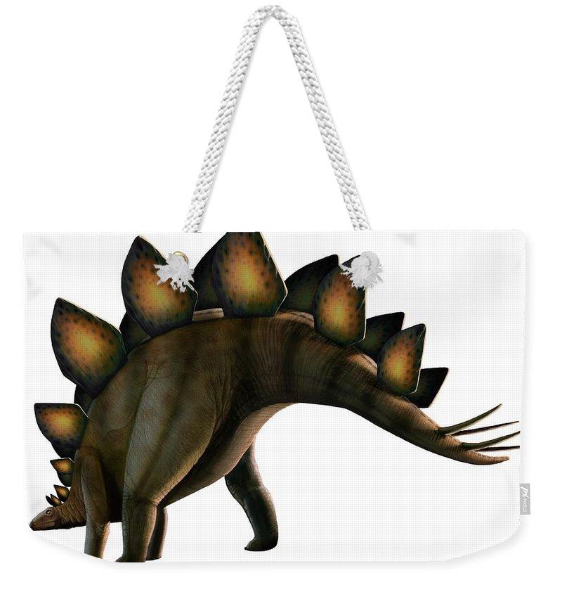 Jurassic Weekender Tote Bag featuring the digital art Artwork Of A Stegosaurus Dinosaur by Mark Garlick