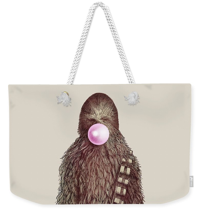 Bubblegum Weekender Tote Bag featuring the drawing Big Chew by Eric Fan