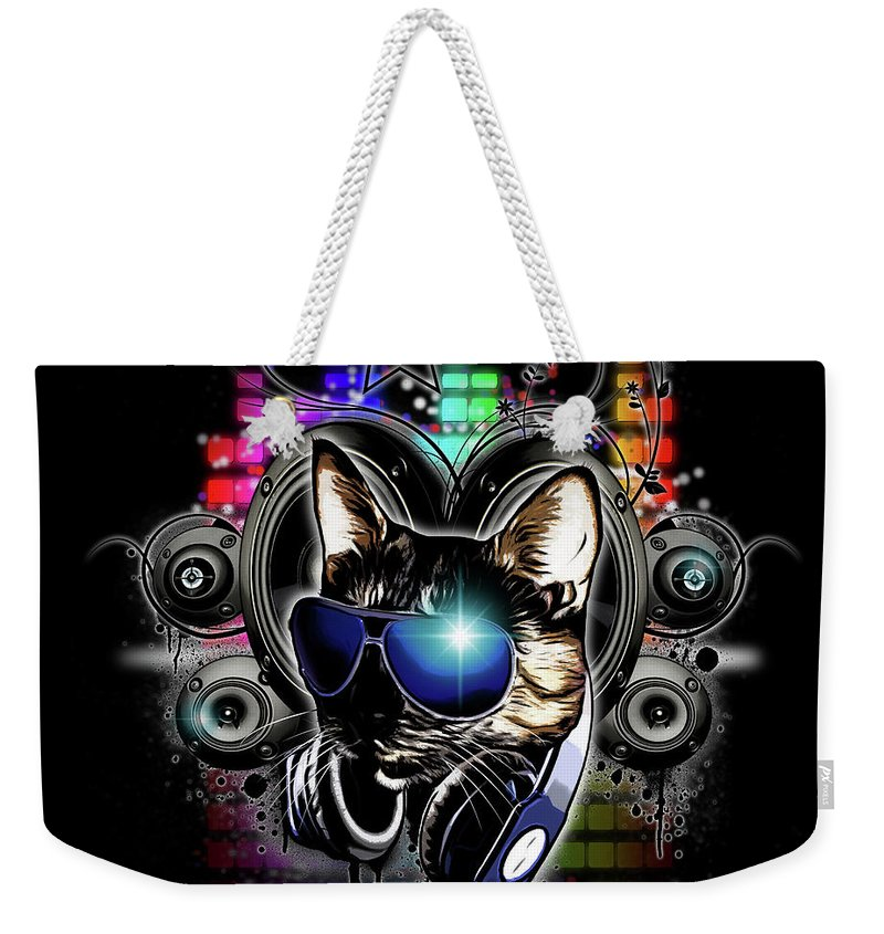 Cool Weekender Tote Bag featuring the digital art Drop The Bass by Nicklas Gustafsson