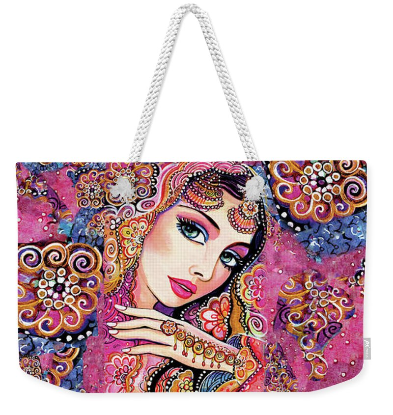 Indian Woman Weekender Tote Bag featuring the painting Kumari by Eva Campbell