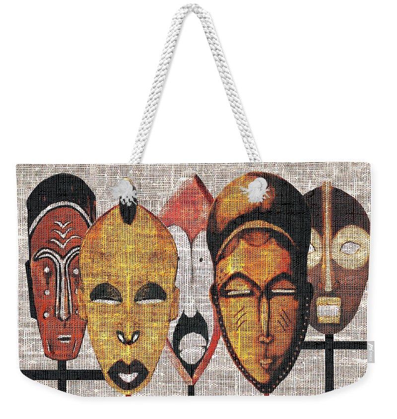 African Masks Weekender Tote Bag featuring the digital art Kabila Masks by Regina Wyatt