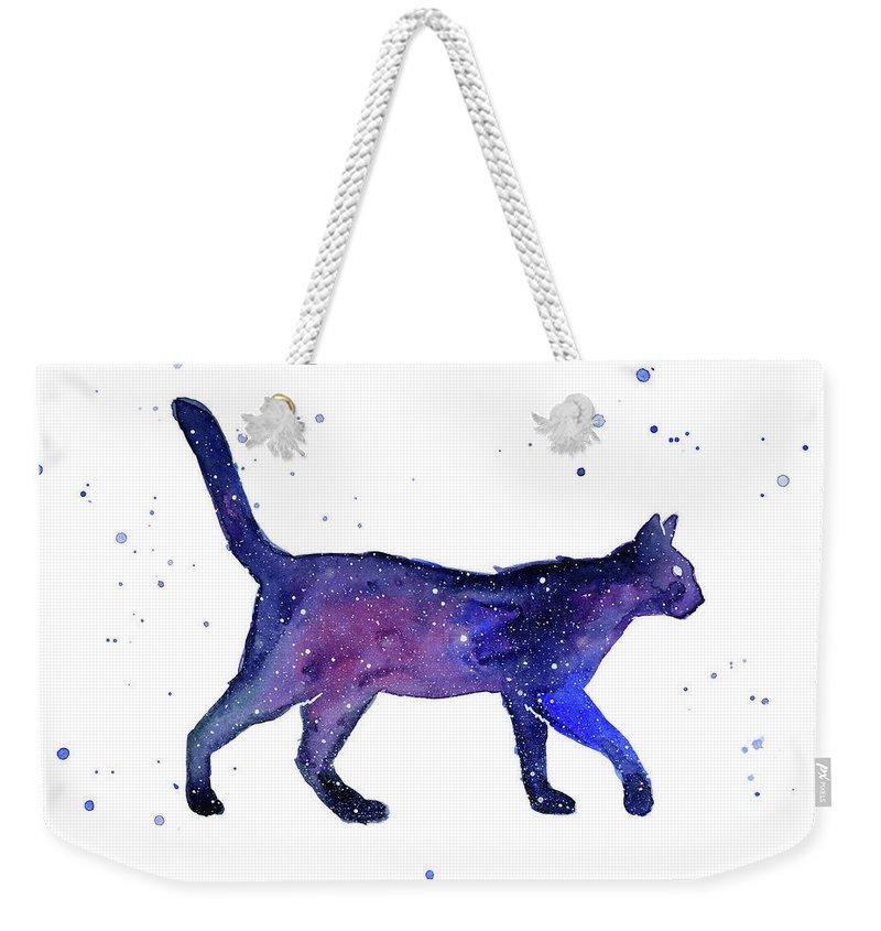 Space Weekender Tote Bag featuring the painting Space Cat by Olga Shvartsur