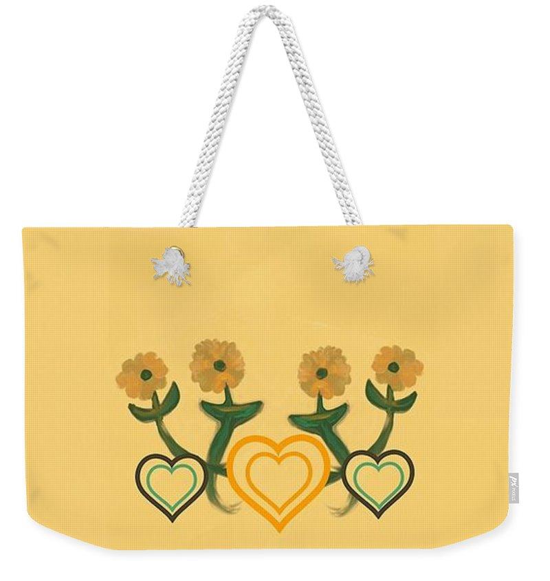 Plants Weekender Tote Bag featuring the digital art Hearts Bronze by Joan Ellen Kimbrough Gandy of The Art of Gandy