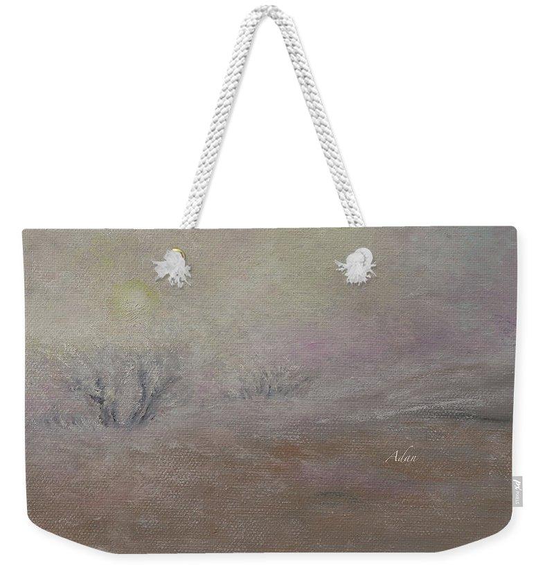 Minimalist Art Weekender Tote Bag featuring the painting Sunrise Through The Fog by Felipe Adan Lerma