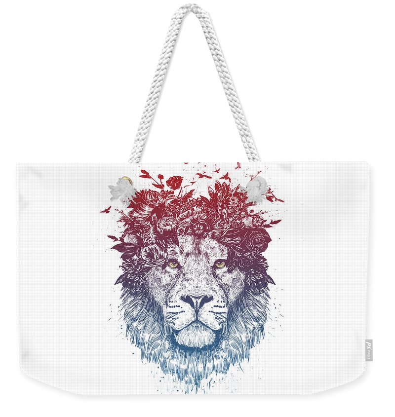 Lion Weekender Tote Bag featuring the drawing Floral Lion IIi by Balazs Solti