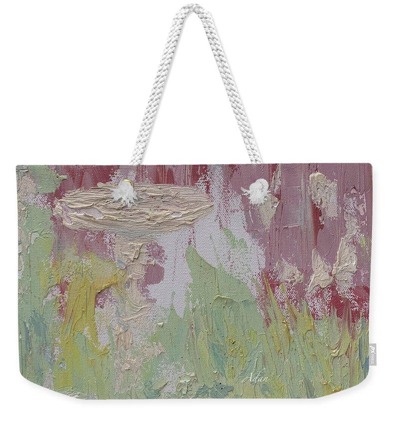 Decorative Impressionism Weekender Tote Bag featuring the painting The Bird Bath by Felipe Adan Lerma