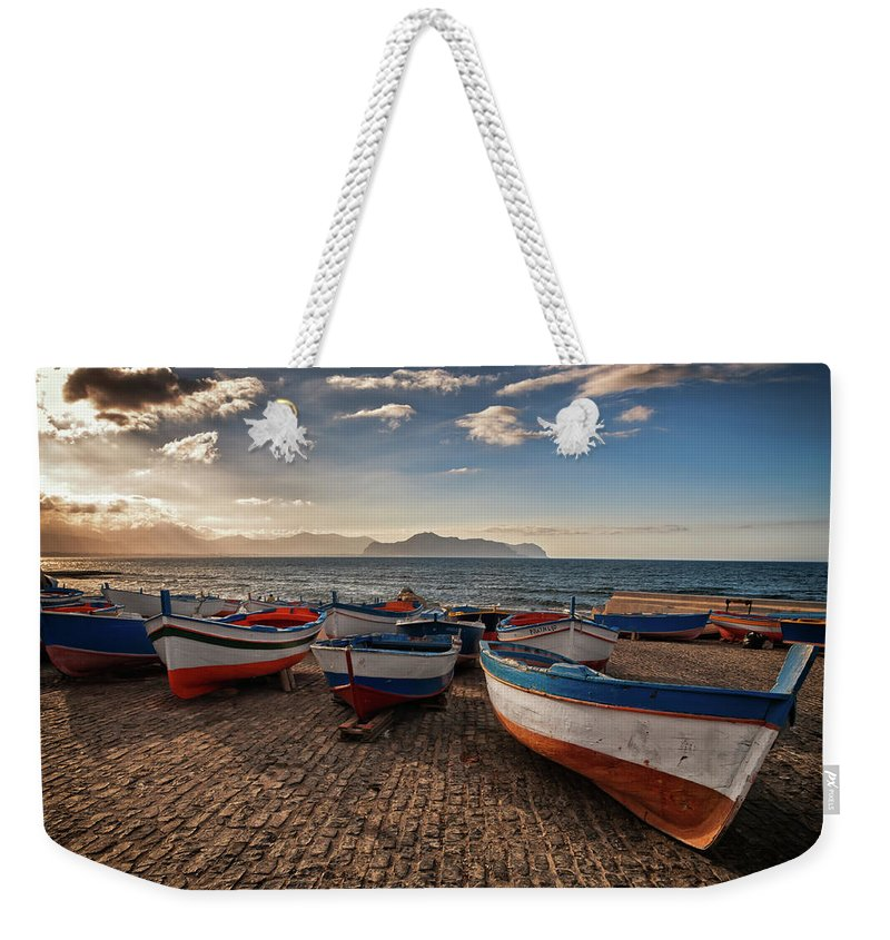 Sicily Weekender Tote Bag featuring the photograph Aspra Boatyard by Fabio Montalto