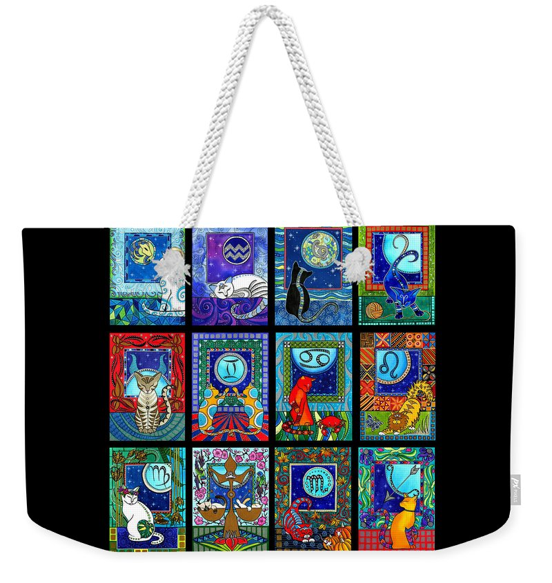 Astrology Weekender Tote Bag featuring the painting Astrology Cat Zodiacs by Dora Hathazi Mendes