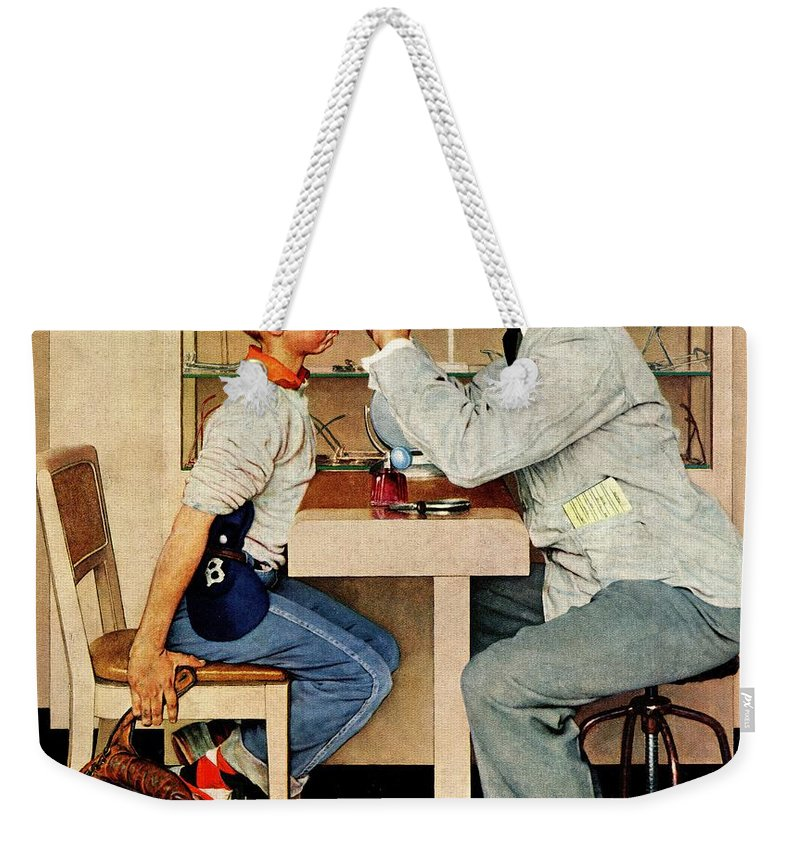 Boys Weekender Tote Bag featuring the drawing At The Optometrist by Norman Rockwell