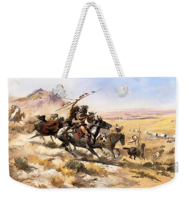Wagon Train Digital Art Weekender Tote Bags