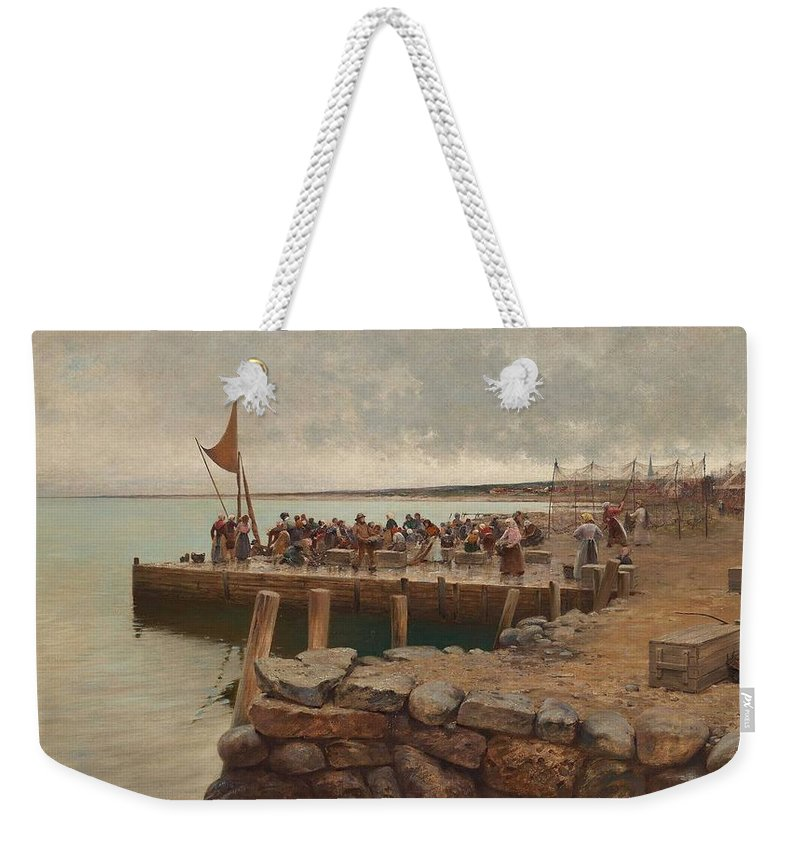 Fisherman Weekender Tote Bag featuring the painting August Hagborg,  Fishermen In The Harbour Of Torekov, Sweden by Celestial Images