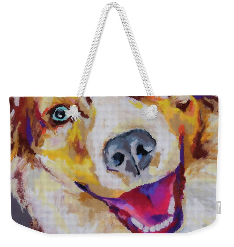 Australian Shepard Weekender Tote Bag featuring the painting Aussie by Stephen Anderson
