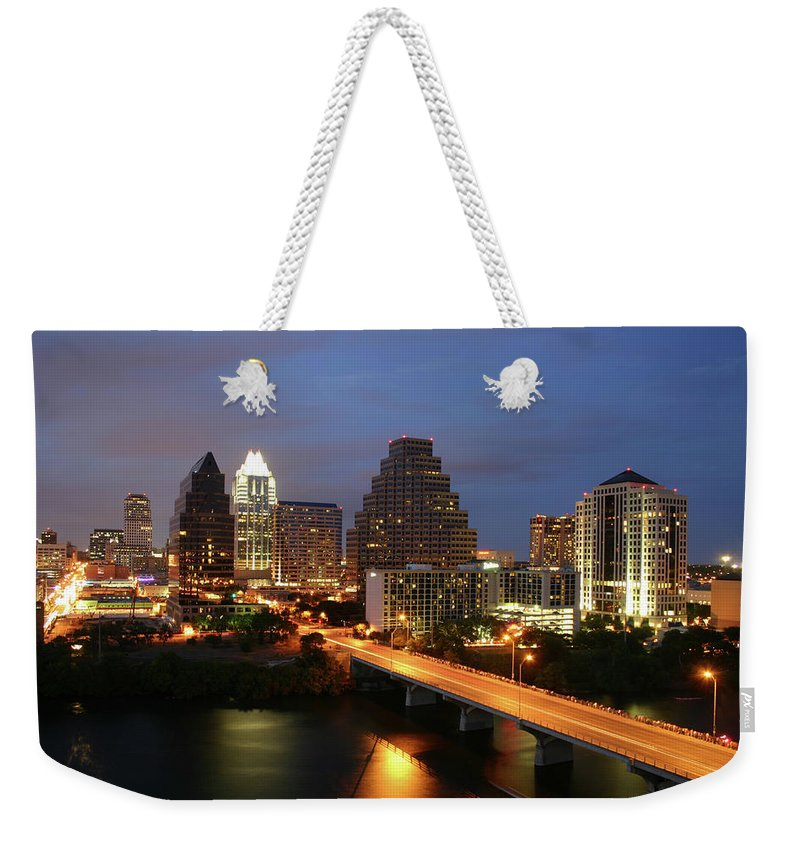 Water's Edge Weekender Tote Bag featuring the photograph Austin Texas Skyline - Unique by Xjben