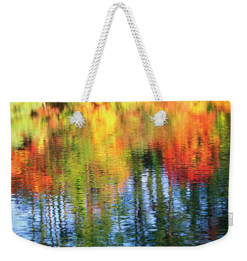 Outdoors Weekender Tote Bag featuring the photograph Autumn Color Reflection by Ooyoo