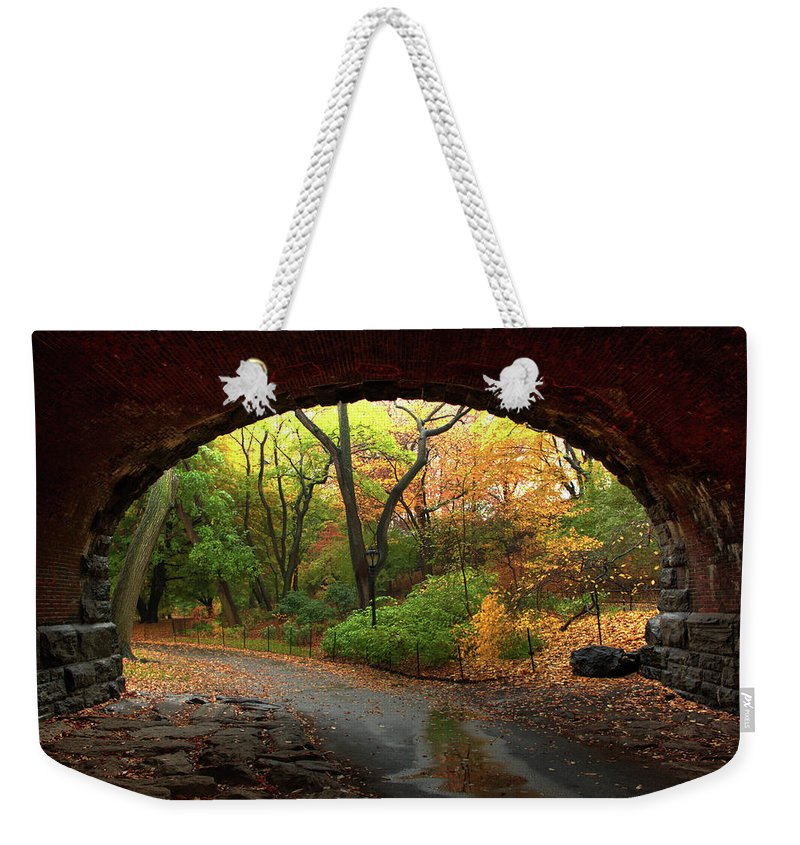Arch Weekender Tote Bag featuring the photograph Autumn Fall In Central Park by Ahmad Abdul-karim Photography