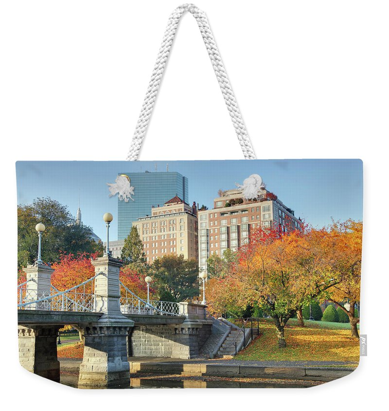 Downtown District Weekender Tote Bag featuring the photograph Autumn In Boston by Denistangneyjr