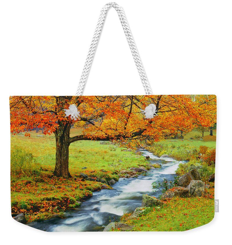 Scenics Weekender Tote Bag featuring the photograph Autumn In Vermont G by Ron thomas