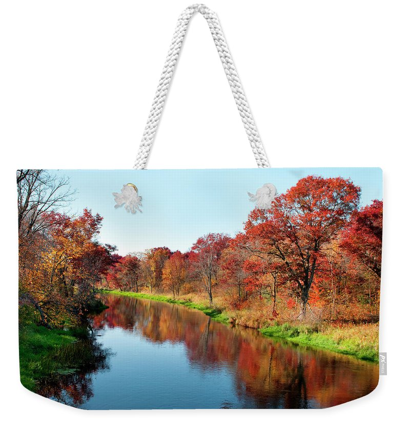Water's Edge Weekender Tote Bag featuring the photograph Autumn In Wisconsin by Jenniferphotographyimaging