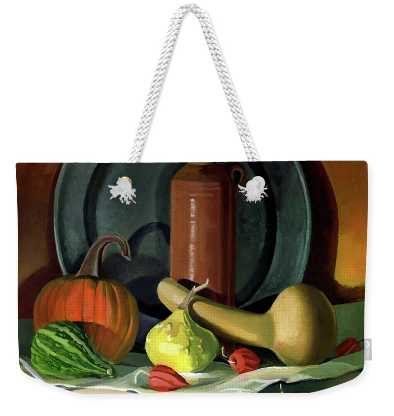 Still Life Weekender Tote Bag featuring the painting Autumn Still Life by Nancy Griswold