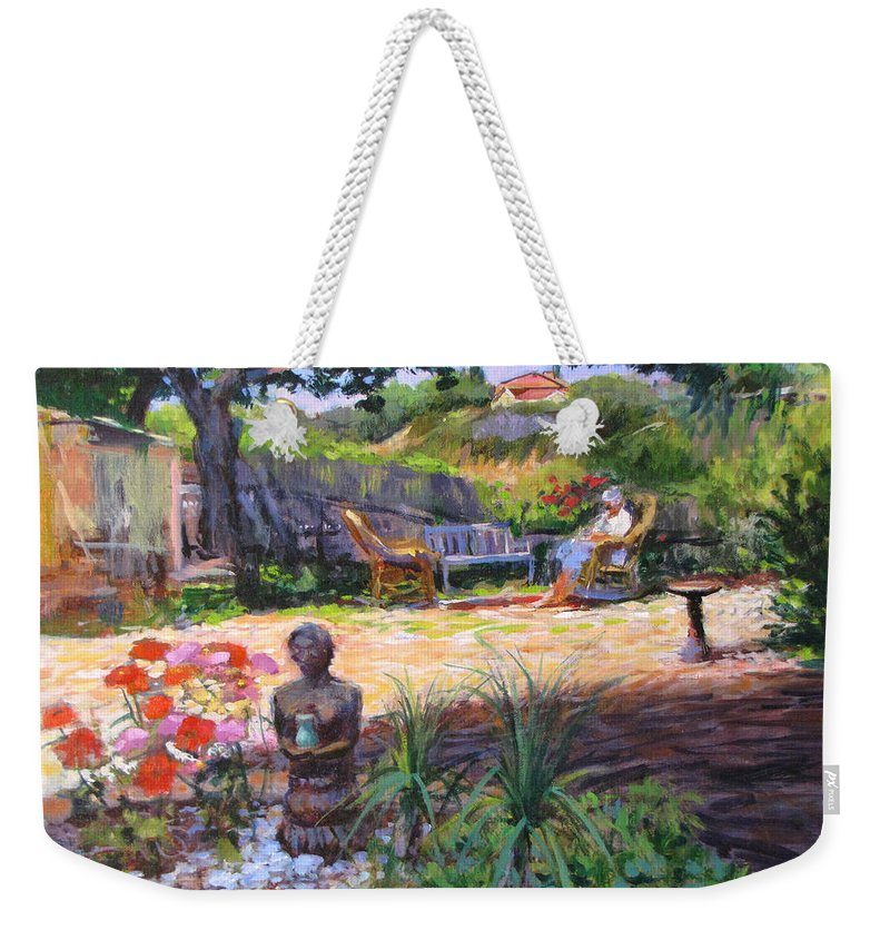 California Weekender Tote Bag featuring the painting Ava's Garden, San Diego by Peter Salwen