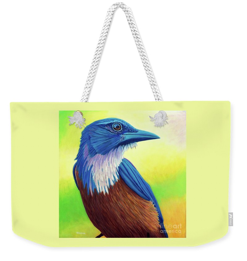 Bird Weekender Tote Bag featuring the painting Awaken by Brian Commerford