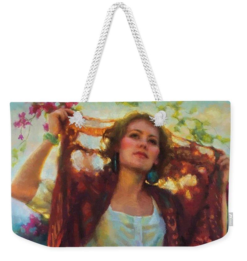 Beautiful Woman Weekender Tote Bag featuring the painting Awaken by Jean Hildebrant