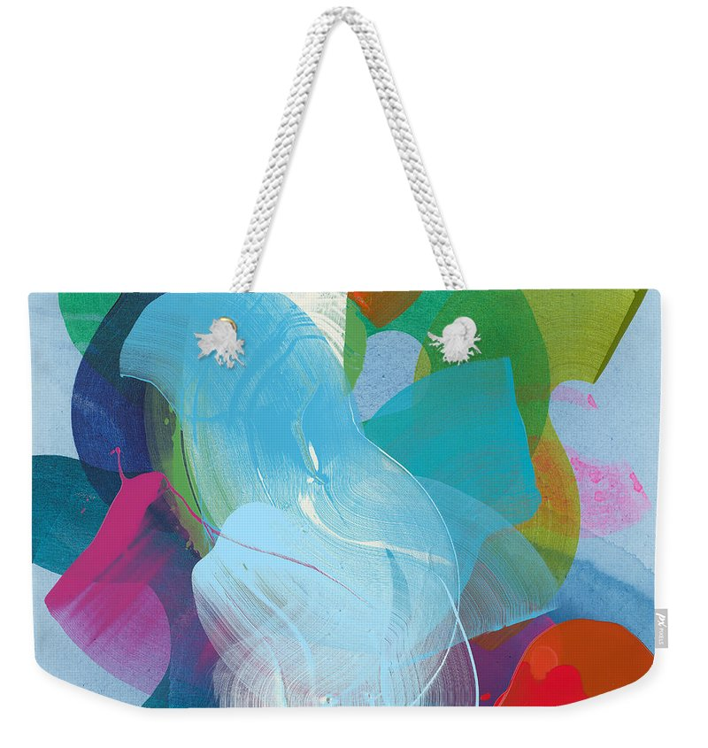 Abstract Weekender Tote Bag featuring the painting Away A While by Claire Desjardins