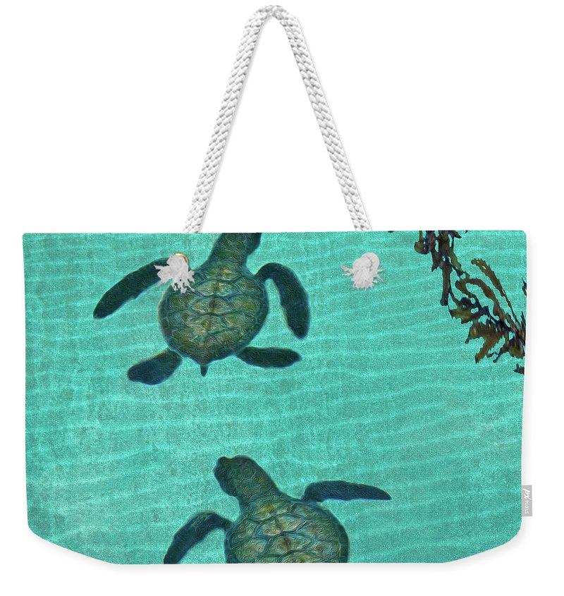 Seaweed Weekender Tote Bag featuring the photograph Baby Sea Turtles by Melinda Moore