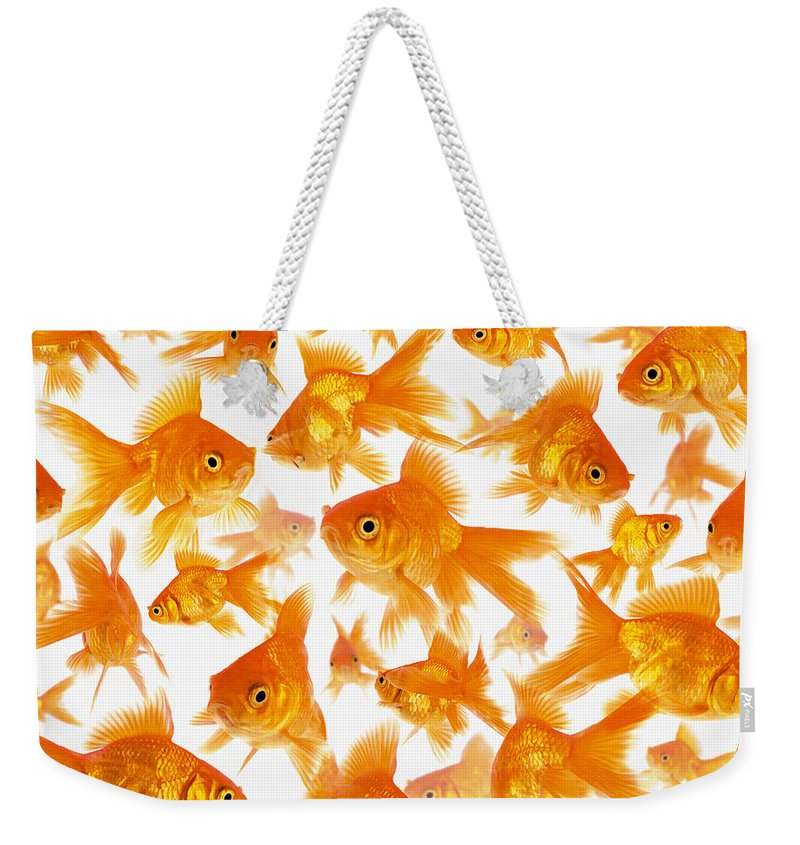 Orange Color Weekender Tote Bag featuring the photograph Background Showing A Large Group Of by Cocoon