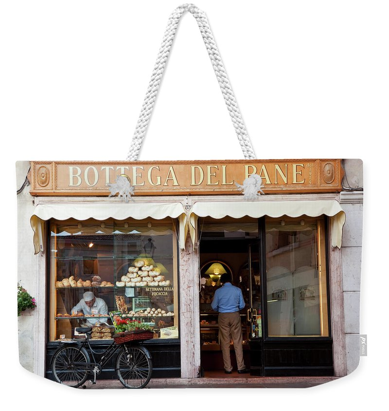 People Weekender Tote Bag featuring the photograph Bakery, Bassano Del Grappa, Veneto by Peter Adams