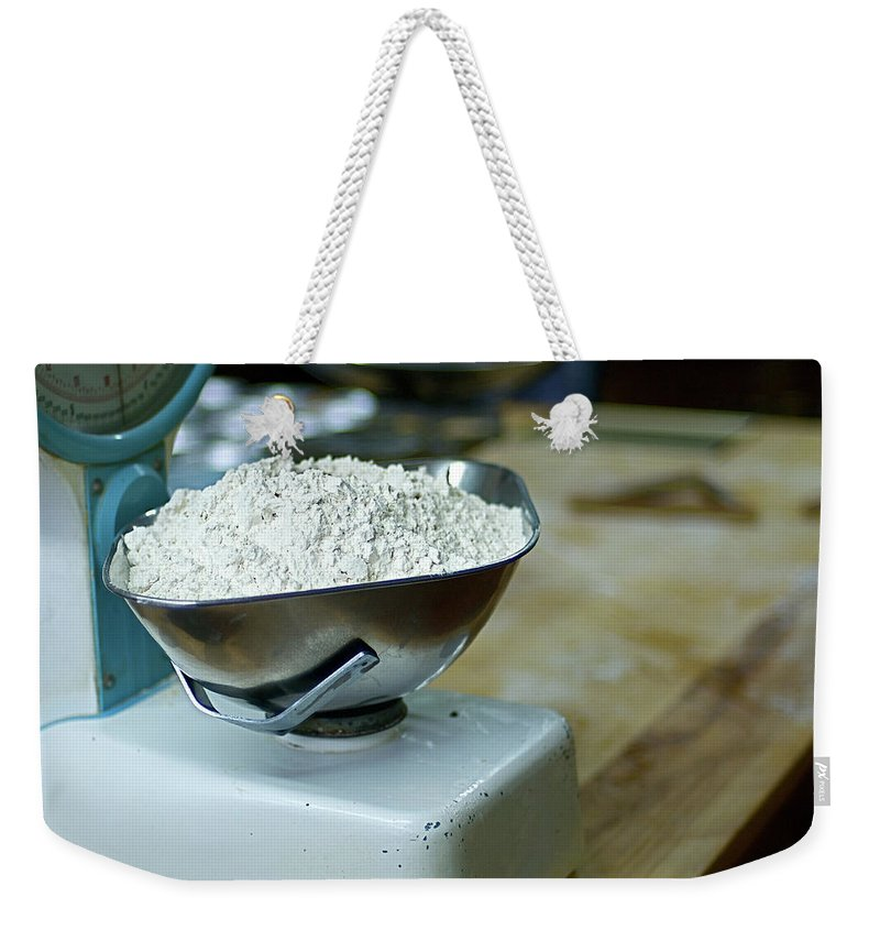 Bakery Weekender Tote Bag featuring the photograph Bakery Scales by Charlie Ingham