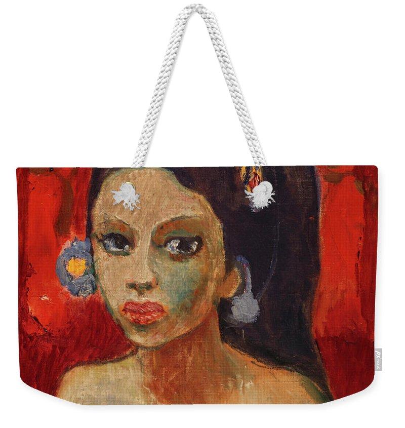 Robert Genin Weekender Tote Bag featuring the painting Balinesin by Robert Genin