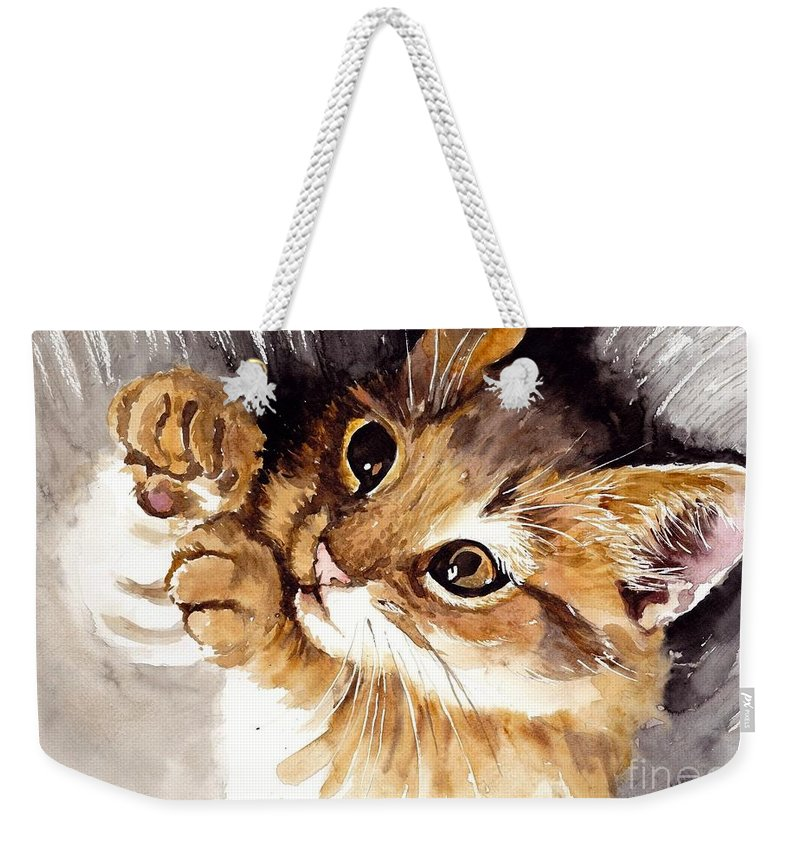 Little Weekender Tote Bag featuring the painting Ball Of Wool by Suzann Sines