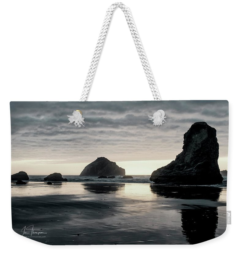 Bandon Beach Weekender Tote Bag featuring the photograph Bandon Beach Sunset 1 by Jim Thompson