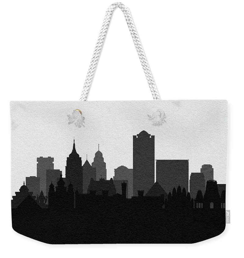Bangalore Weekender Tote Bag featuring the digital art Bangalore Cityscape Art by Inspirowl Design