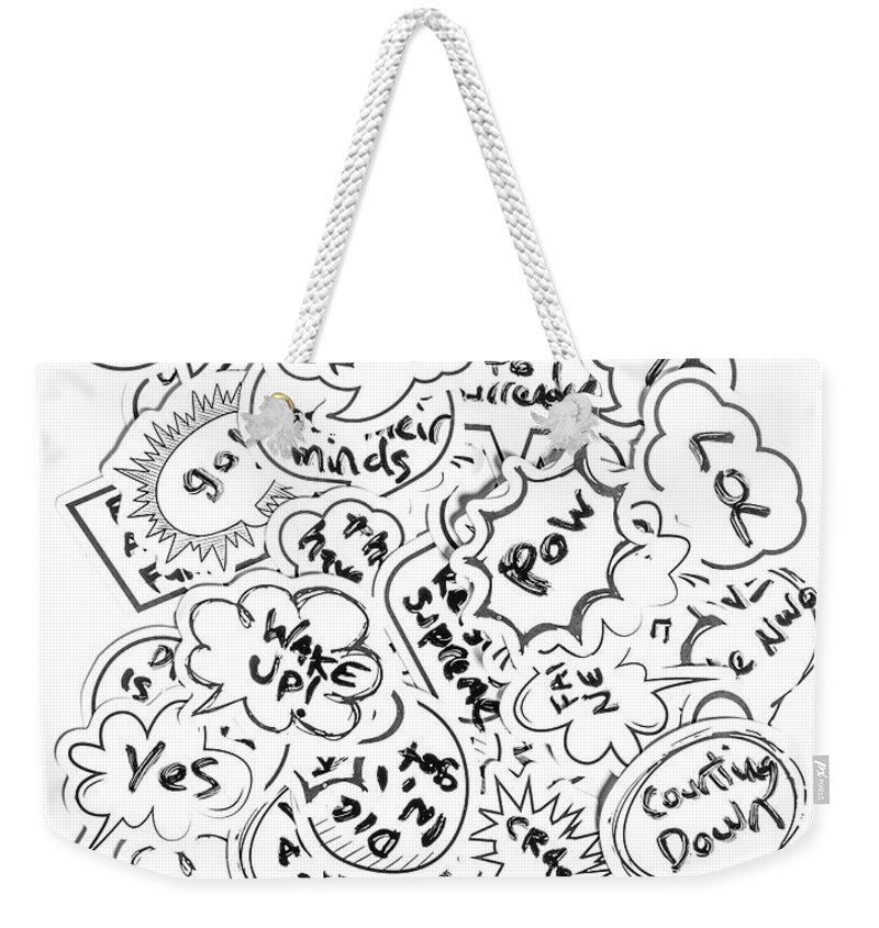 Gaming Weekender Tote Bag featuring the photograph Banter Bubbles From A Comic Creation by Jorgo Photography - Wall Art Gallery