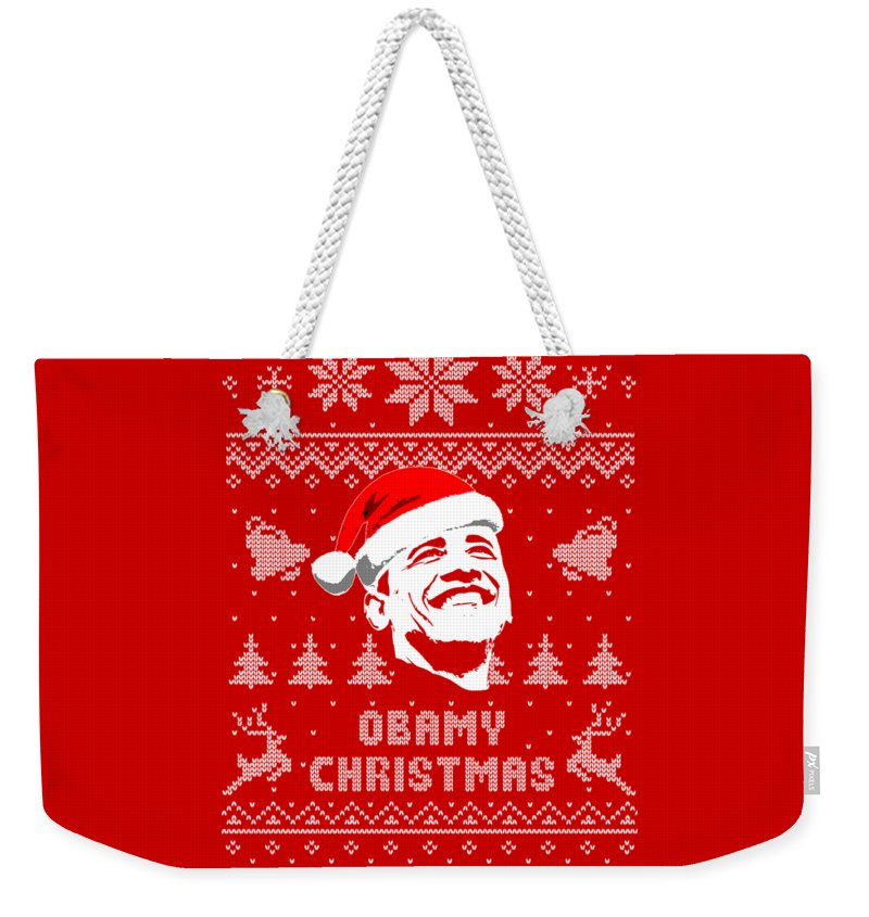 Santa Weekender Tote Bag featuring the digital art Barack Obama Obamy Christmas by Filip Hellman