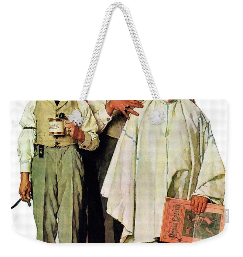 Barbers Weekender Tote Bag featuring the drawing Barbershop Quartet by Norman Rockwell