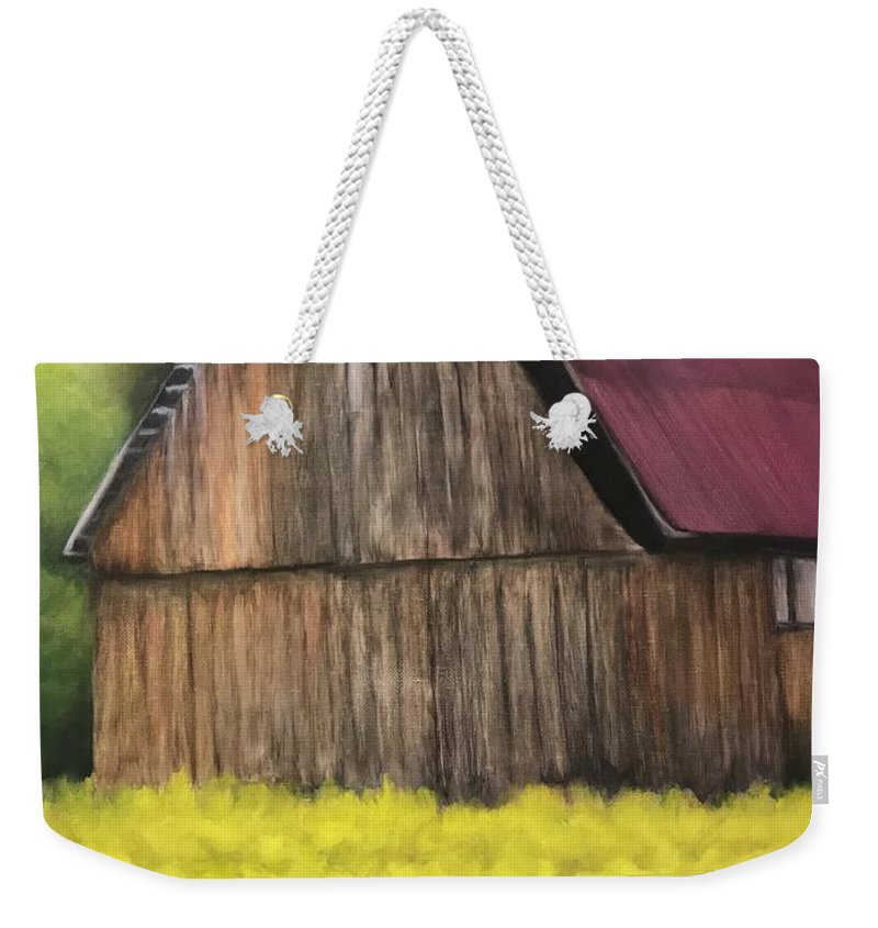 Barn Weekender Tote Bag featuring the painting Barn by Sheila Mashaw