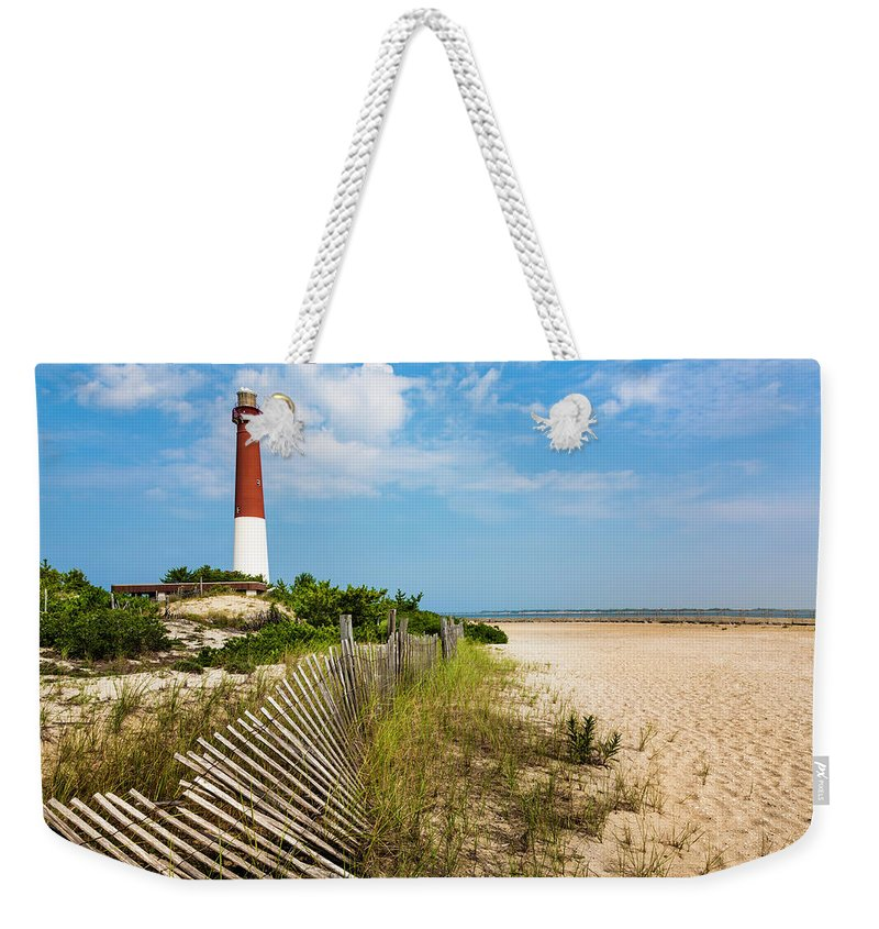 Water's Edge Weekender Tote Bag featuring the photograph Barnegat Lighthouse, Sand, Beach, Dune by Dszc
