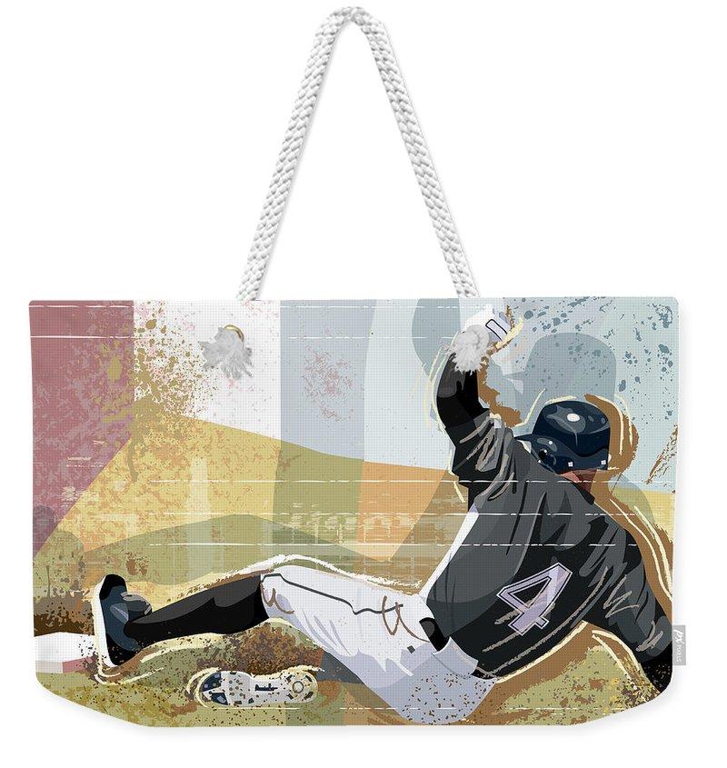 Sports Helmet Weekender Tote Bag featuring the digital art Baseball Player Sliding Into Base by Greg Paprocki