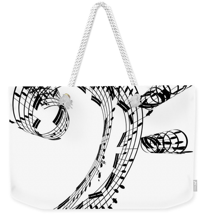 Sheet Music Weekender Tote Bag featuring the digital art Bass Clef Made Of Music Notes by Ian Mckinnell