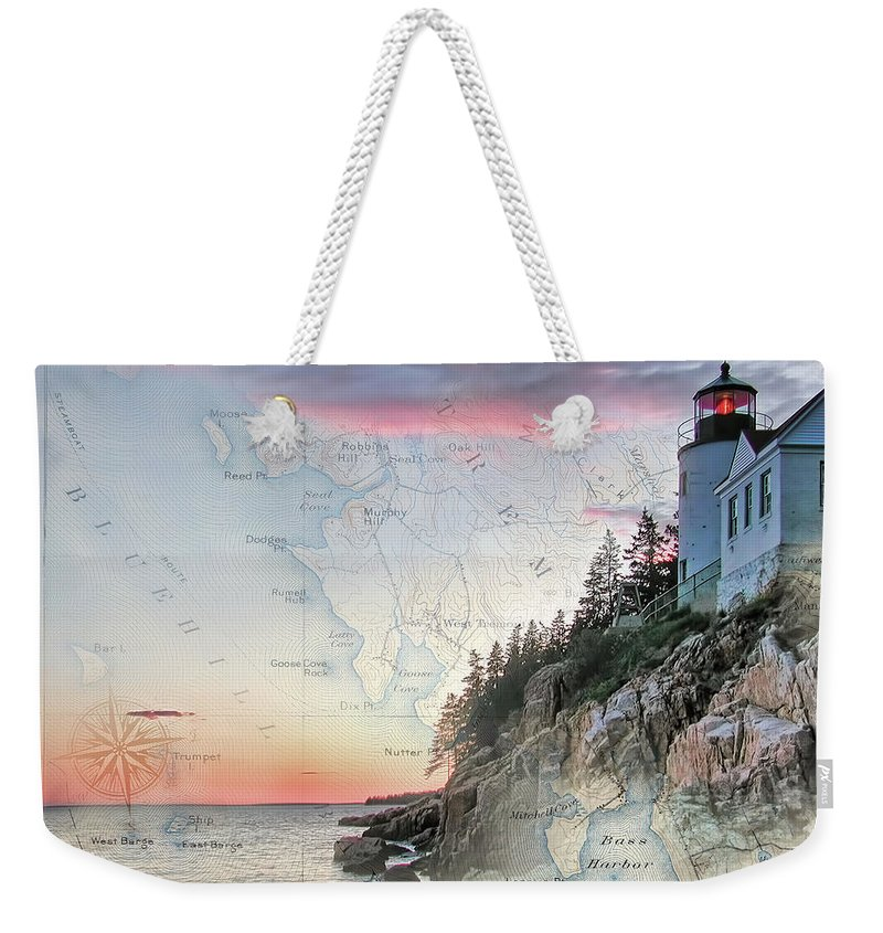 Lighthouses Of New England Weekender Tote Bag featuring the photograph Bass Harbor Lighthouse On A Chart by Jeff Folger