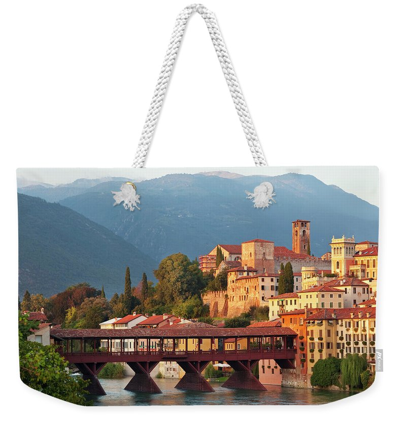 Tranquility Weekender Tote Bag featuring the photograph Bassano Del Grappa & Ponte Degli by Peter Adams