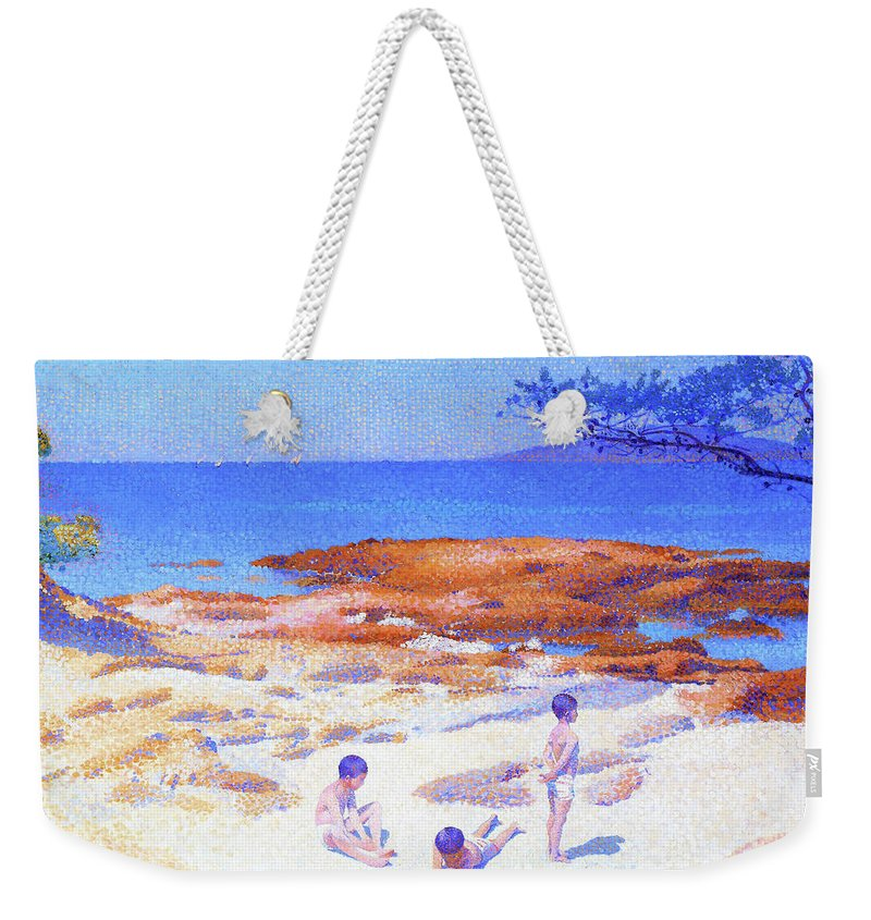 Beach At Cabasson Weekender Tote Bag featuring the painting Beach At Cabasson - Digital Remastered Edition by Henri Edmond Cross