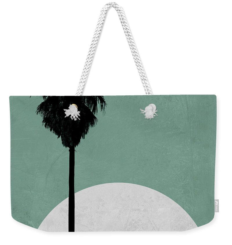 Palm Tree Weekender Tote Bag featuring the mixed media Beach Palm Tree by Naxart Studio